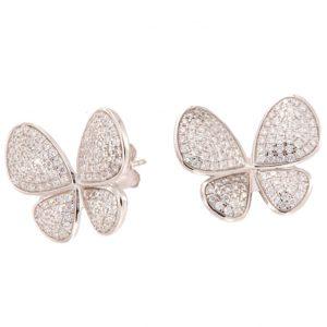 Pendientes de plata espectaculares de mariposa
