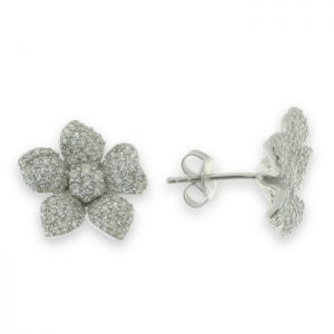 Pendientes de flor con cinco petalos con circonitas