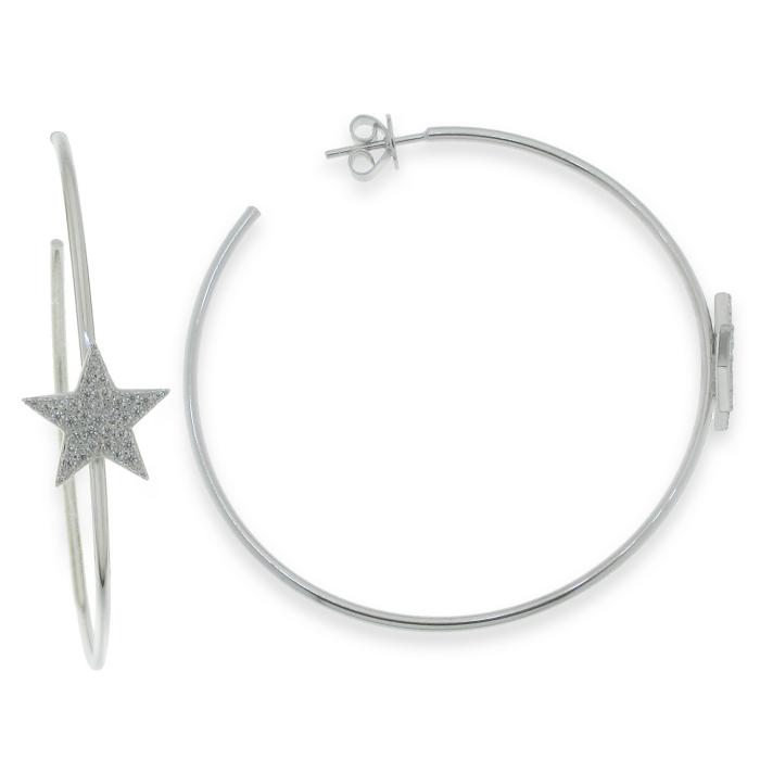 Pendientes de plata de aro con estrella circonitas