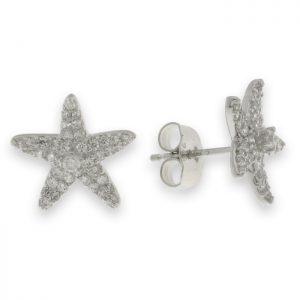 Pendientes de plata con circonitas estrella