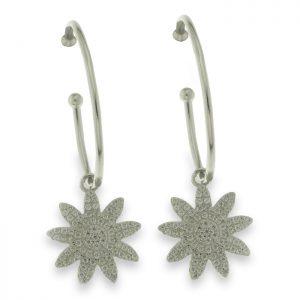 Pendientes de plata con flor de circonitas en aro