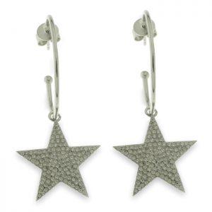 Pendientes de plata estrella con circonitas
