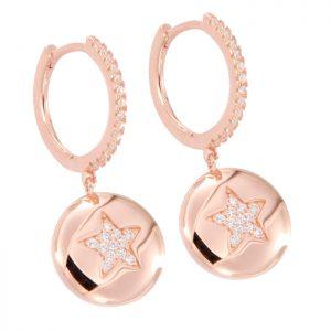 Pendientes de plata Rosa con circonitas aro con colgante